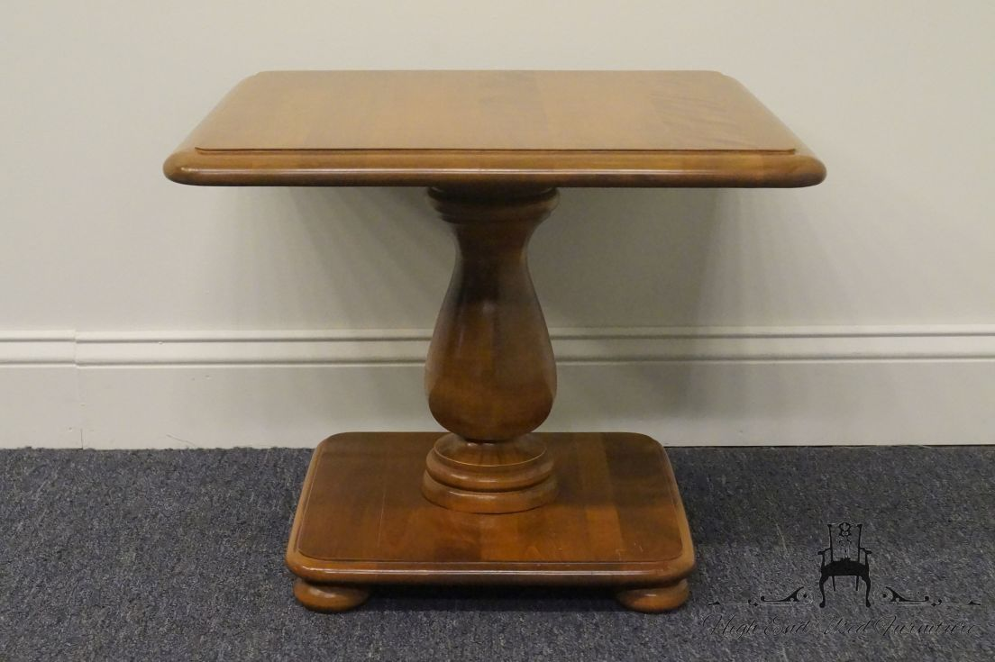 ethan allen pedestal end table tops ballan accent high used furniture heirloom nutmeg maple square flannel backed vinyl tablecloth oil rubbed bronze side over the toilet storage