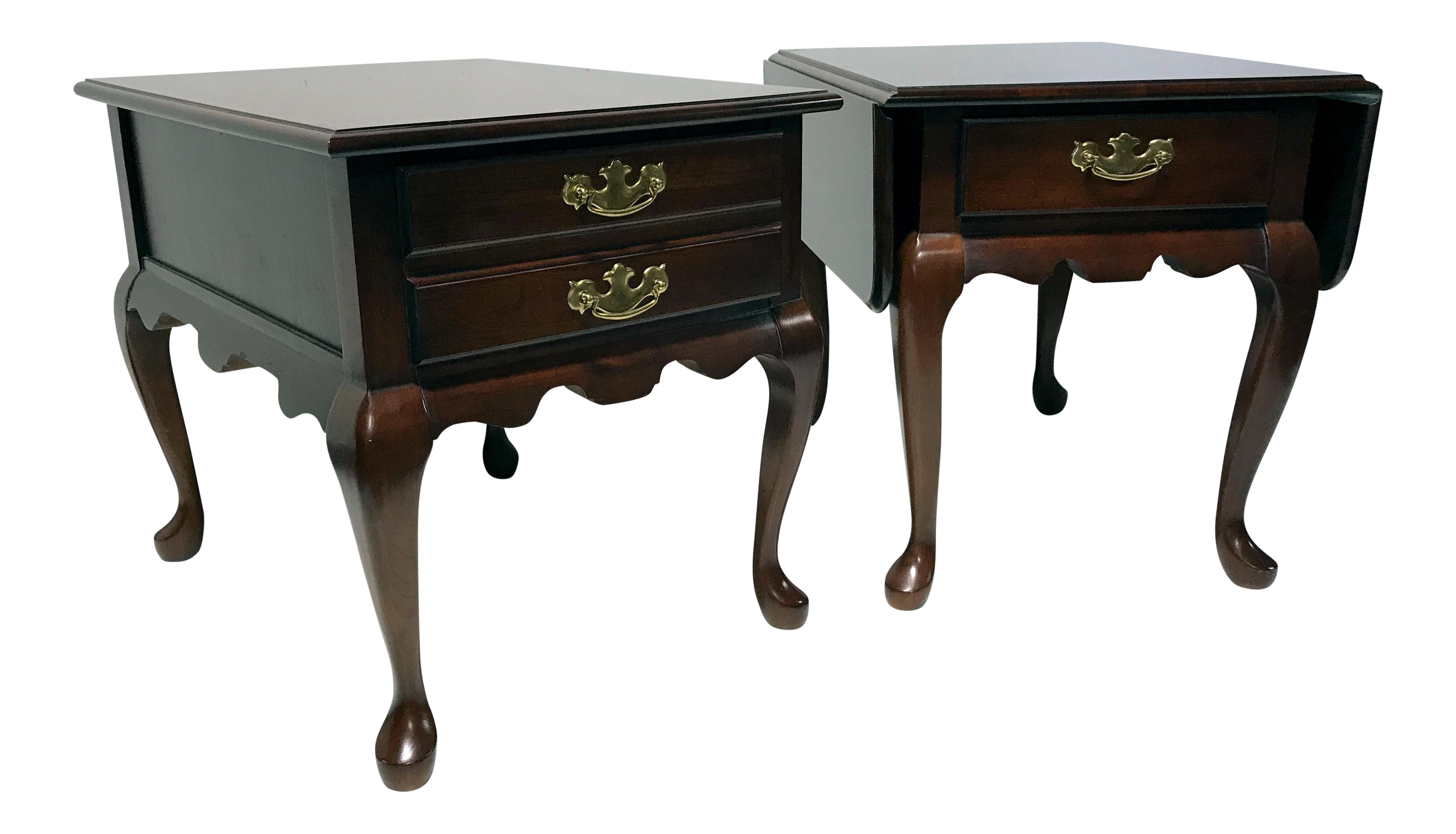 ethan allen pedestal end table tops delwood solid cherry queen anne style side tables chairish with drawer rustic dresser cross leg bedside short refrigerators lamps for bedroom