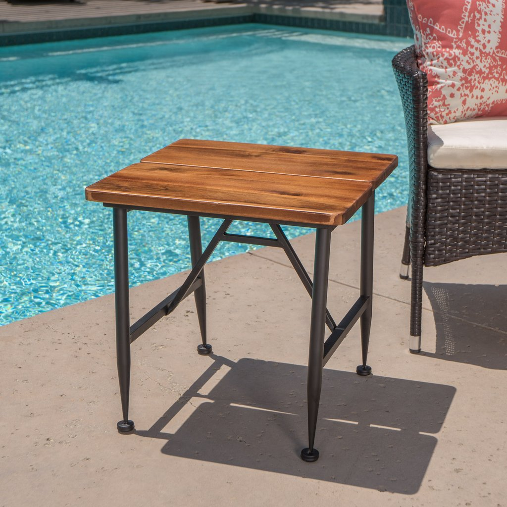 everbold industrial antique finished acacia wood end table black accent iron accents cream colored tablecloth coffee calgary hairpin side brass finish oak chairside round tables