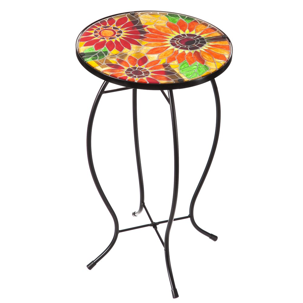 evergreen garden outdoor safe sunflowers faux mosaic butterfly glass accent table and metal side plastic patio chairs red small drop leaf retro placemat oval shaped coffee target