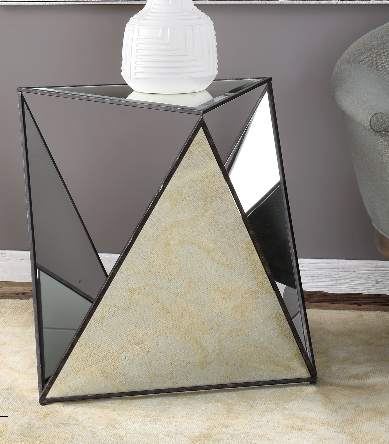 everly quinn smiley tripod mirrored end table pyramid accent yellow umbrella himym outdoor patio with round removable legs mahogany nest tables pier one credit card login home