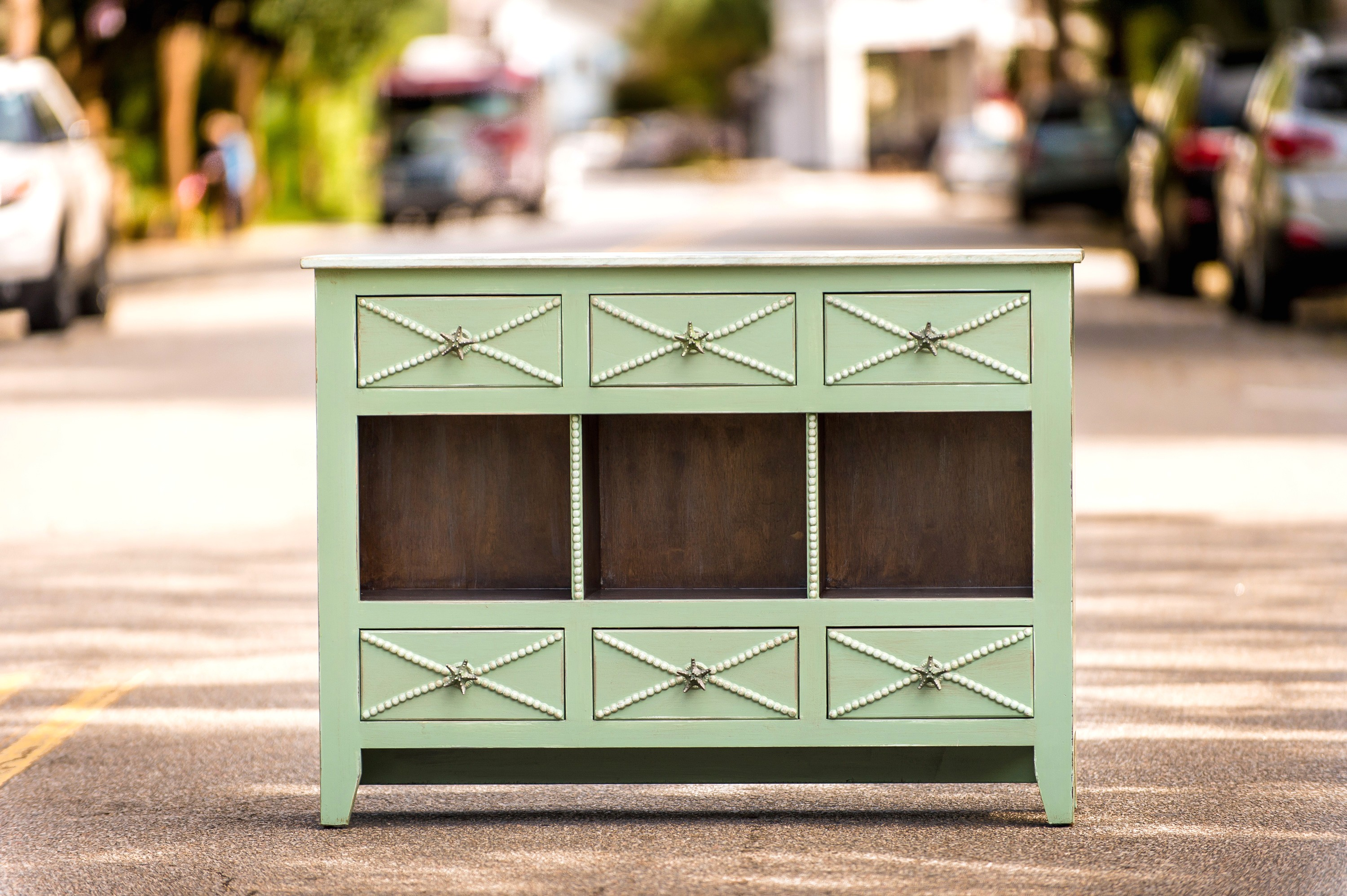 excellent green accent table space land park home design kendall console this creamy piece has six drawers for storage and salt marsh finish full view small outdoor bench