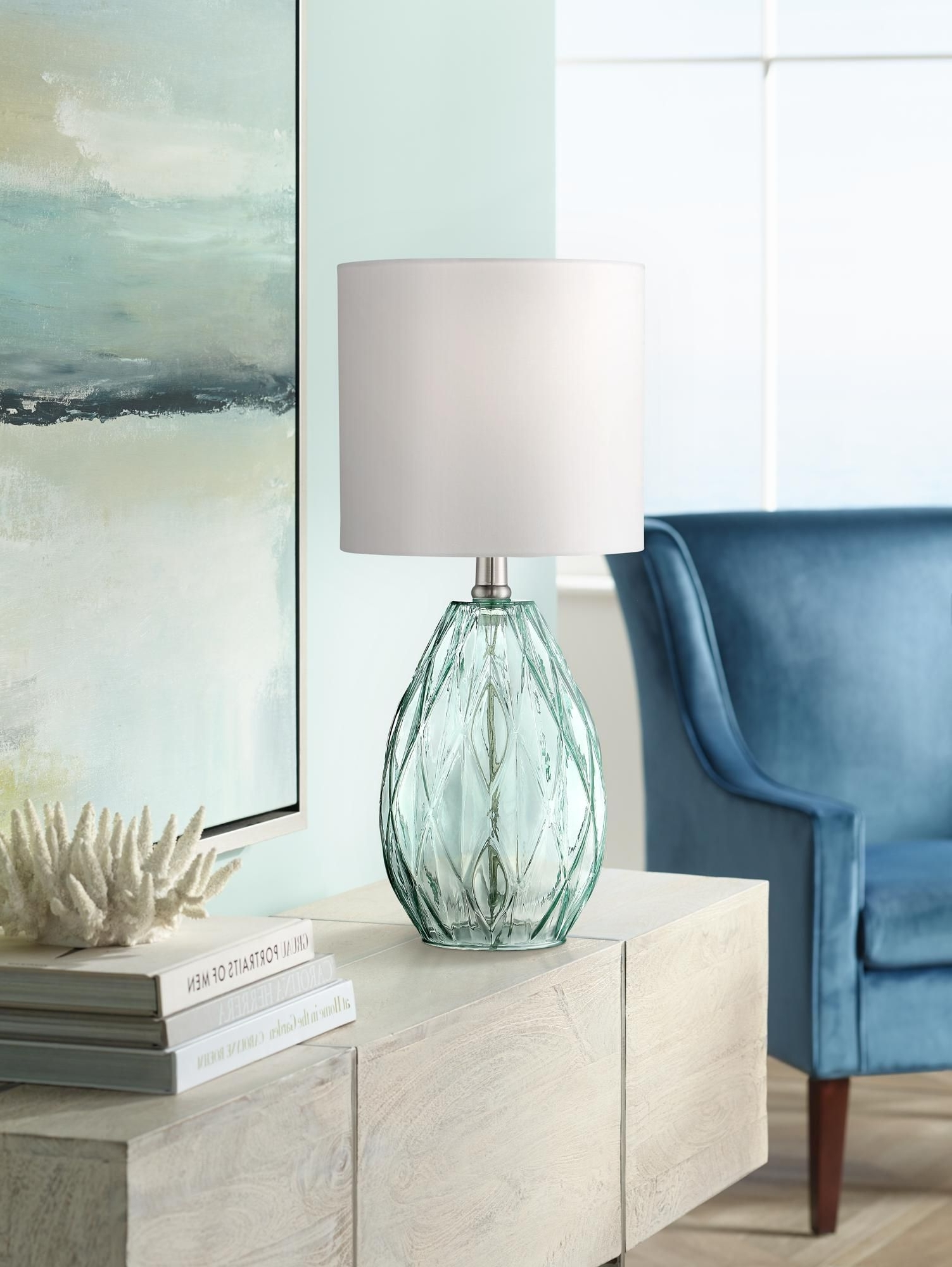 explore blue living room table lamps showing most date inside rita green glass accent lamp audio furniture target round chair drum side home decor inspiration tall white bedside