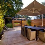 exterior cozy wooden and metal material for patio chairs large umbrella with dark wood outdoor table floor plus lounge fence also side adjustable drum throne bunnings couch yellow 150x150