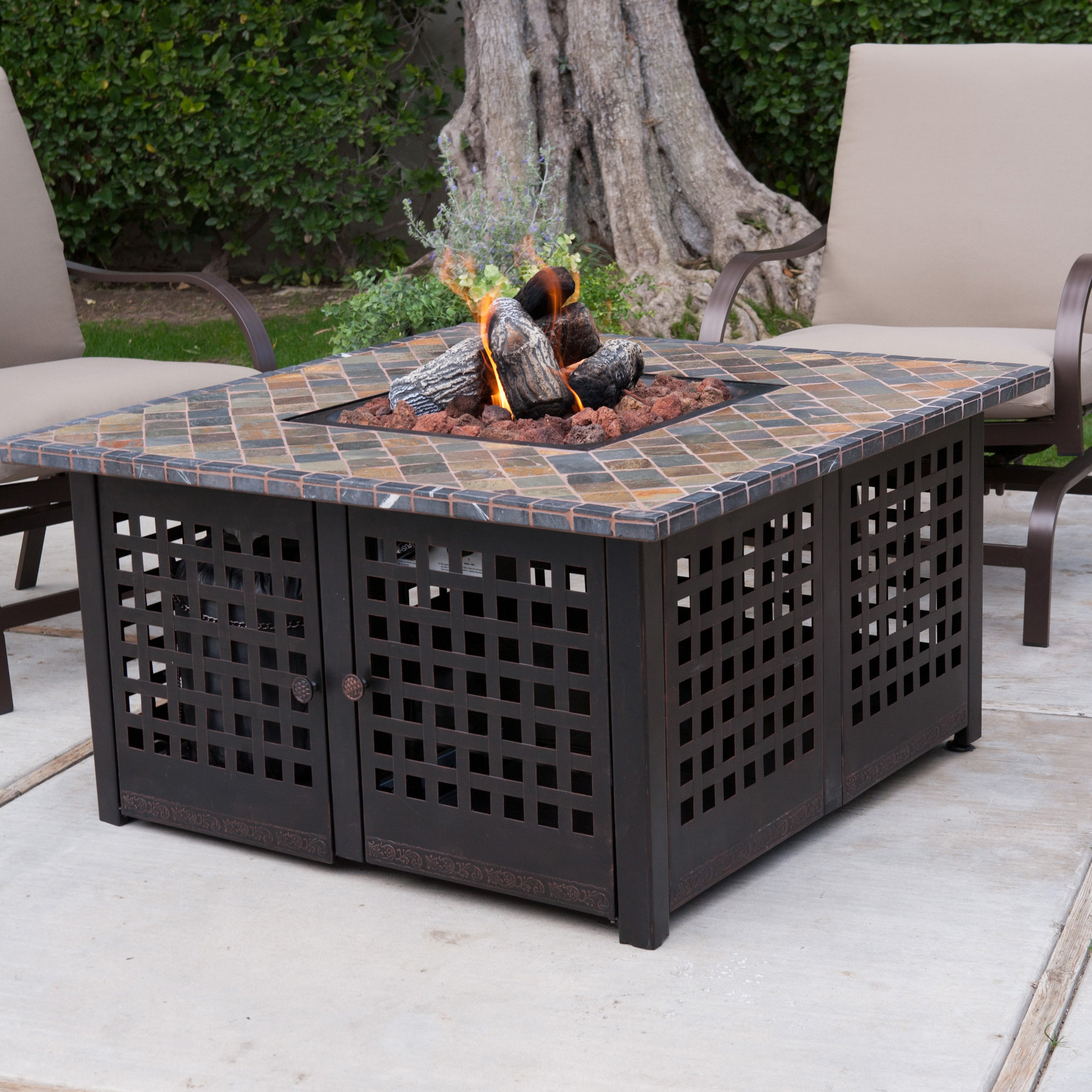 exterior inspiring patio decor ideas with fire pit cozy concrete flooring and wrought iron furniture beige cushions for exciting design plus also outdoor gas metal accent table