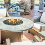 exterior inspiring patio decor ideas with fire pit wicker accent chair beige cushions and plus glass top side table concrete flooring for exciting design propane kit also pits 150x150