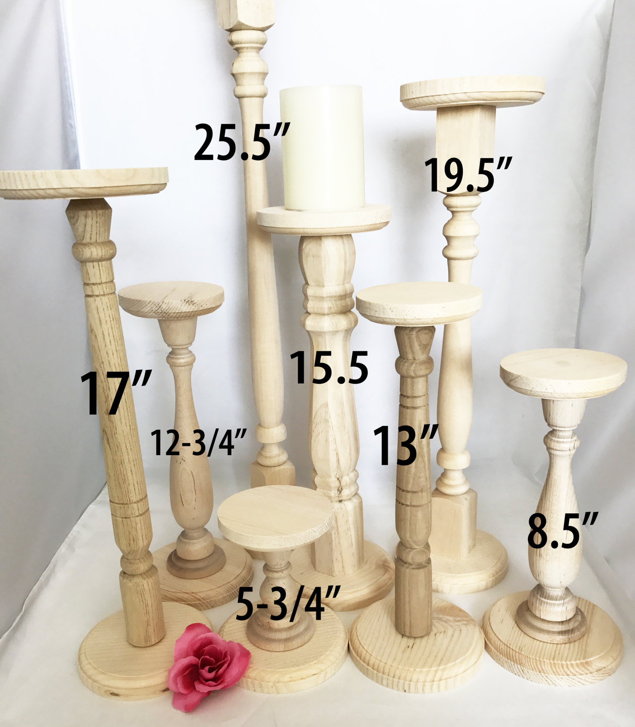 extra tall unfinished wood pillar candlestick holders diy wedding accents table accent plastic adirondack side decorative storage cabinets pier one bench wine rack shelf slim