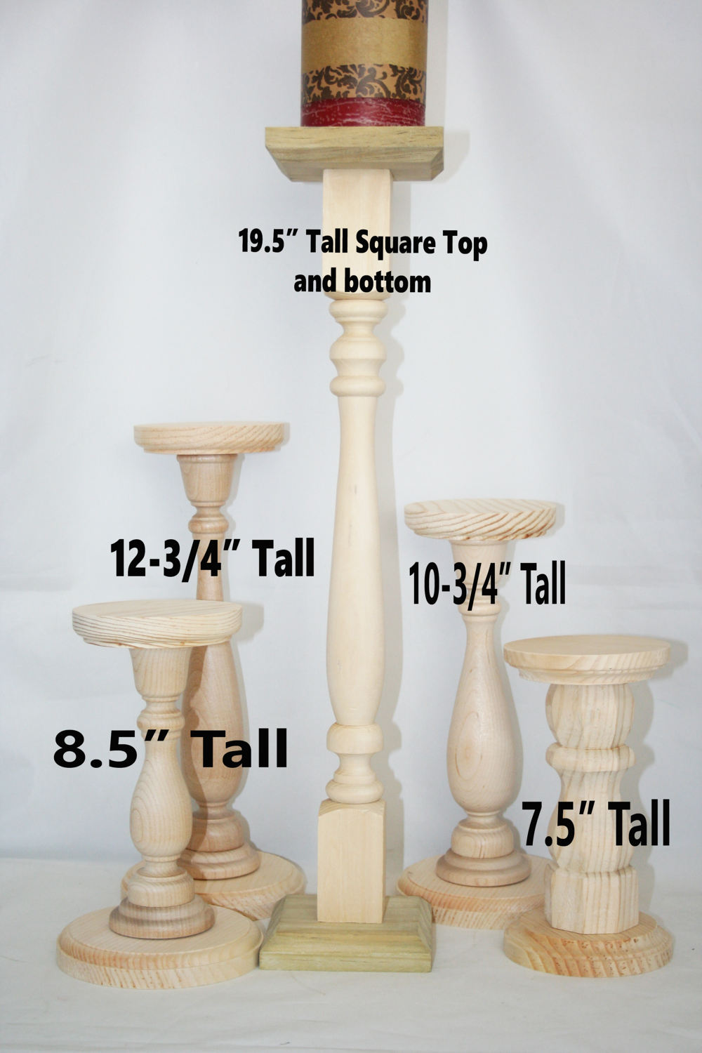 extra tall unfinished wood pillar candlestick holders diy wedding accents table accent pottery barn round chair grey nest tables area rugs sofa with chairs garden dining knobs and