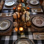 fall decor tablescapes thanksgiving table accent placemat featuring black buffalo check runner brass accents wooden placemats metallic gourds and pumpkins patterned plates eileen 150x150