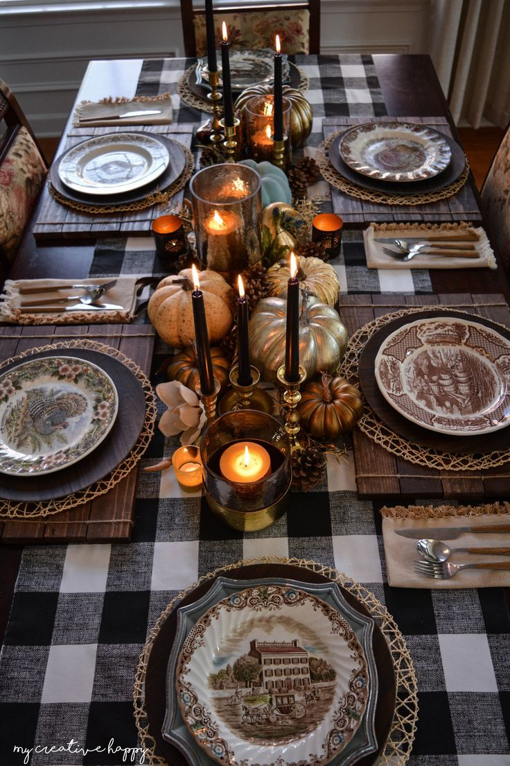 fall decor tablescapes thanksgiving table accent placemat featuring black buffalo check runner brass accents wooden placemats metallic gourds and pumpkins patterned plates eileen