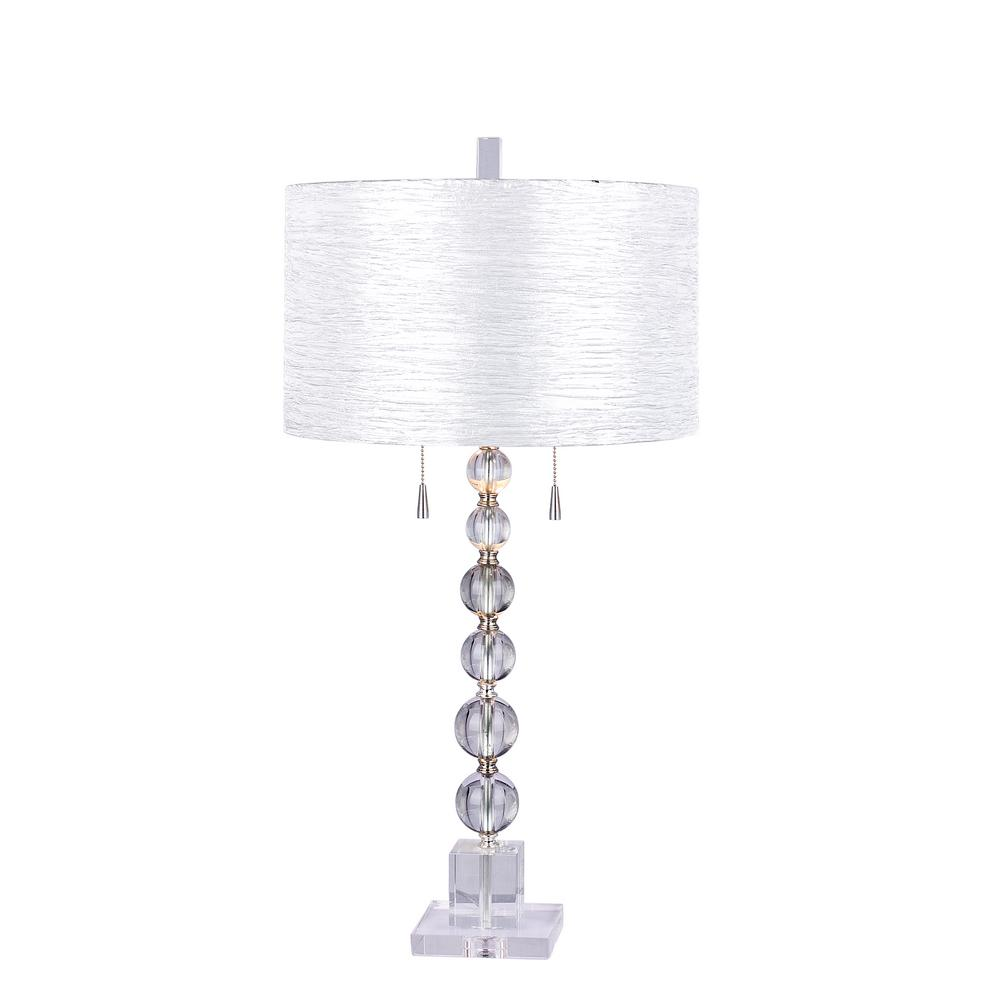 fangio lighting clear stacked crystal ball table lamp with brushed steel lamps accent metal accents support cocktail linens white wicker glass top corner occasional blue and