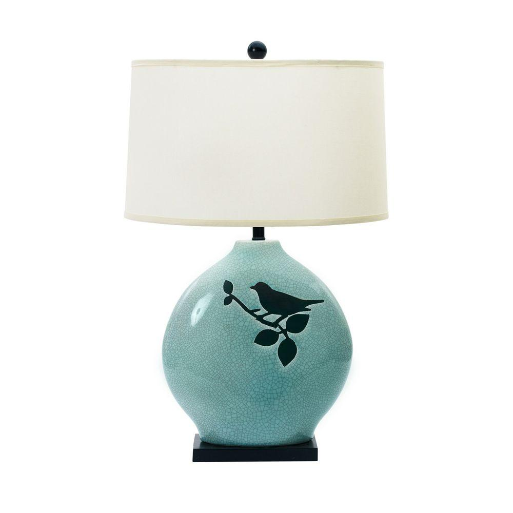 fangio lighting spa blue crackle with bird ceramic table lamp black base lamps accent sheesham bedside pottery barn end side drawer tiffany nautical bedroom drum shaped farmhouse
