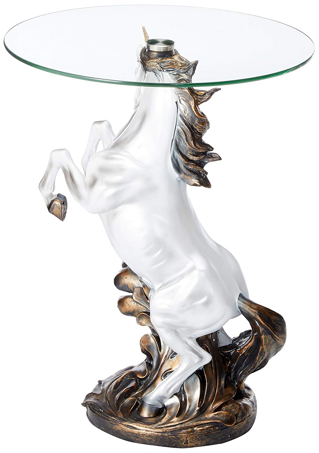 fantasy magical unicorn horse glass top accent table kitchen dining college dorm room decor half moon sofa versailles furniture set living tables bedroom chairs target narrow