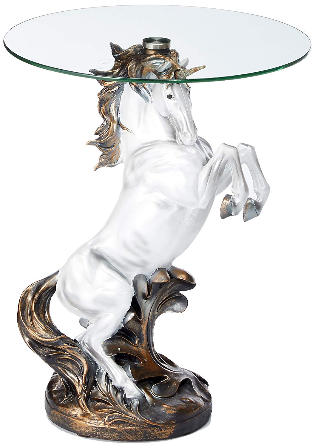 fantasy magical unicorn horse glass top accent table kitchen dining stump tall marble side versailles furniture brass indoor nautical ceiling lights unique end tables waterproof