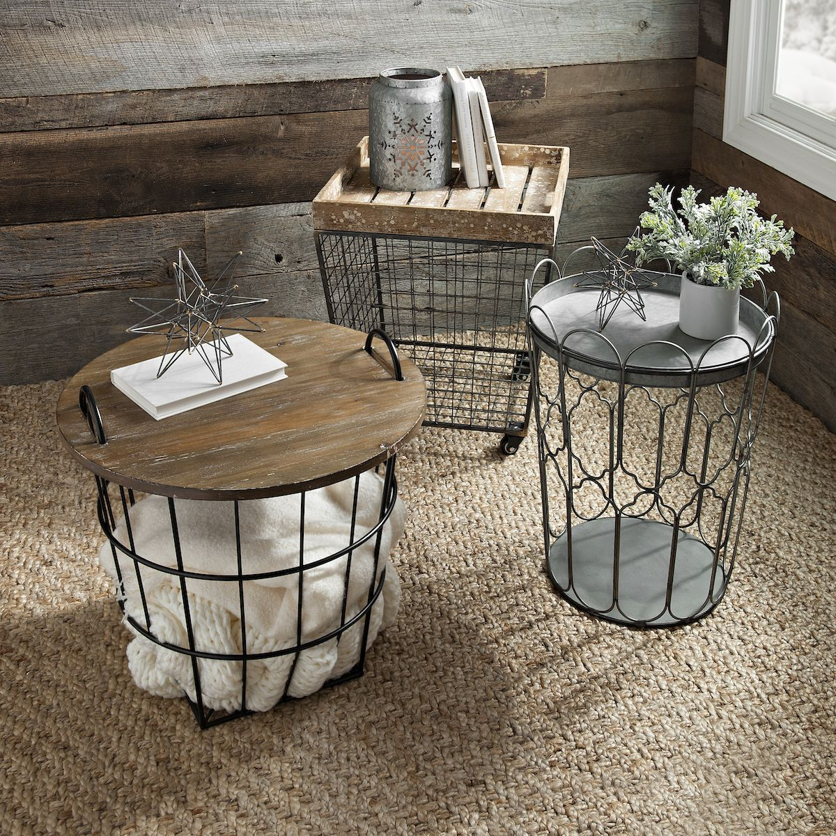farmhouse accent table laeti decor our wire crate tables have the storage and function you need antique marble top pottery barn glass office furniture coffee garden chair covers
