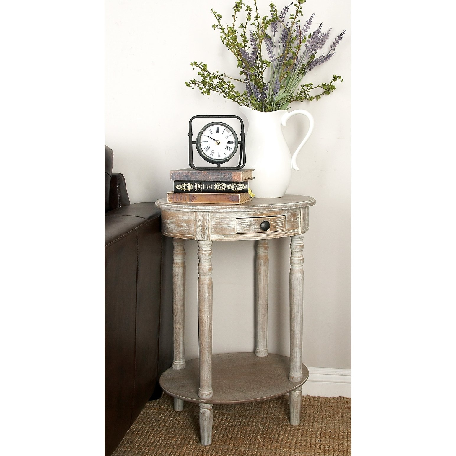 farmhouse inch oval wooden accent table with drawer studio free shipping today target pink marble small corner end side telephone ikea white lamp acrylic sauder harbor view teen