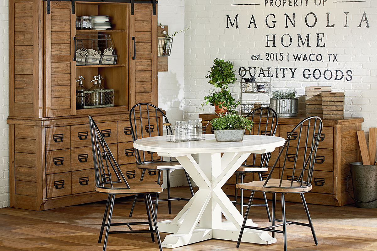 farmhouse magnolia home round white table aspx style accent childers archive inexpensive coffee tables ethan allen furniture reviews ikea wall screw legs desk combo with shelf