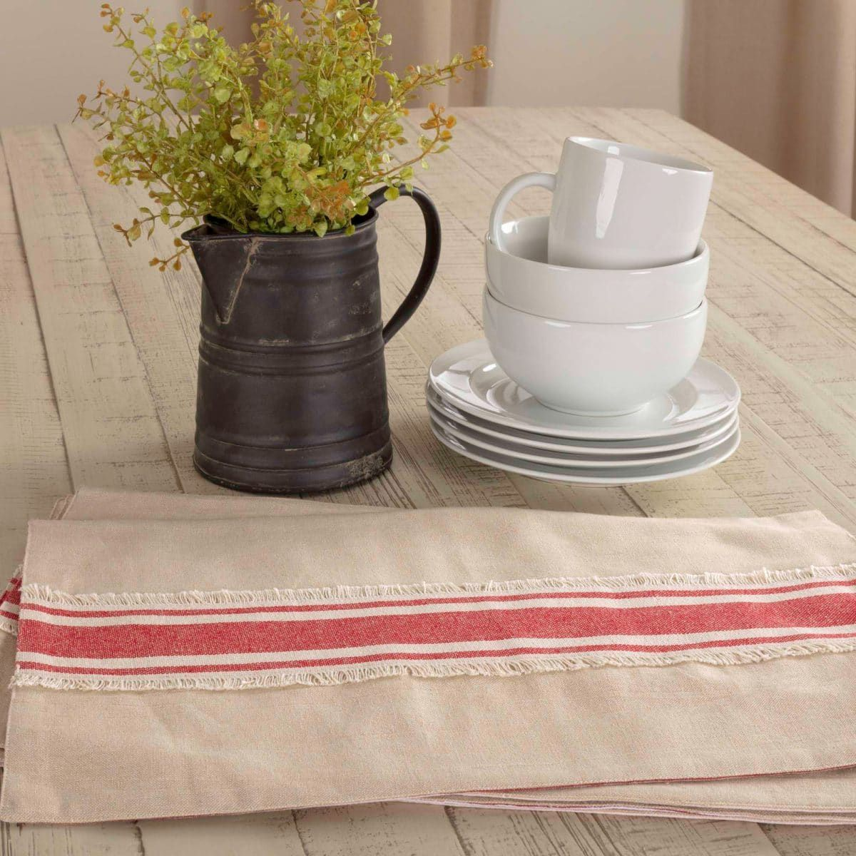 farmhouse red grain sack stripe placemat piper original curtains table accent patio chairs high end coffee clearance tiffany lamps corner entryway furniture tables mirrored wood