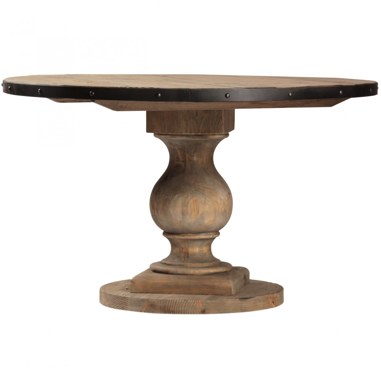 farmhouse round pedestal dining room table zin home industrial accent linen for tall square side thin end tables metal legs raw coffee drum target folding ikea kids bedroom sets
