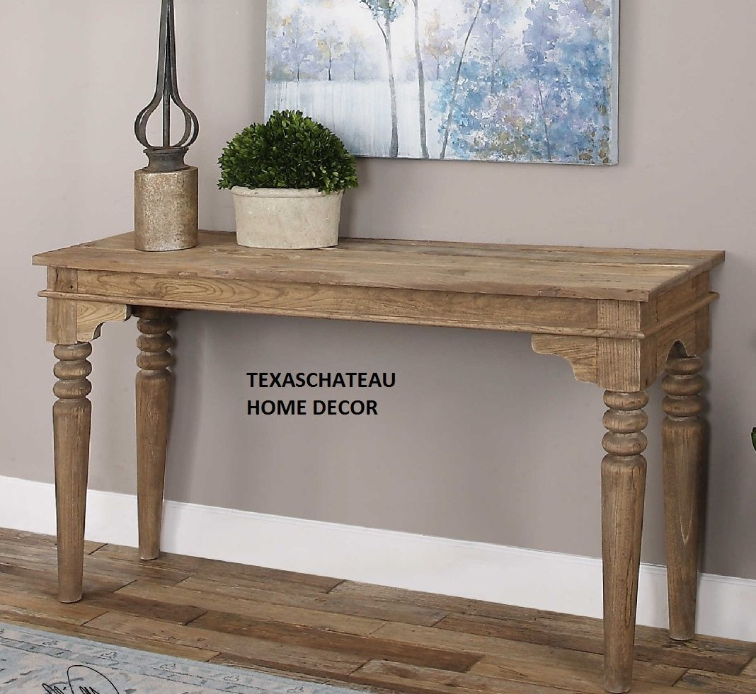 farmhouse rustic solid wood entry console sofa table foyer accent french country oak tables monarch specialities runner and placemats drum throne for guitar contemporary