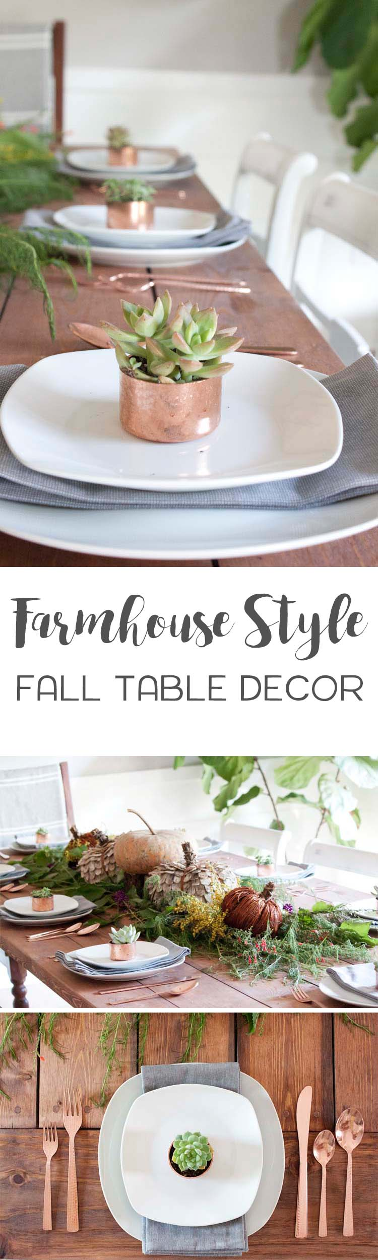 farmhouse style fall table decor southern revivals accent rustic and natural touches mixed with warm copper accents make this setting round glass top silver drum side cabinet legs