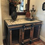 farmhouse style single dog kennel and crate barn door end table with rollin that can remain wide opened for those don like close their pets rose gold lamp bent glass coffee narrow 150x150