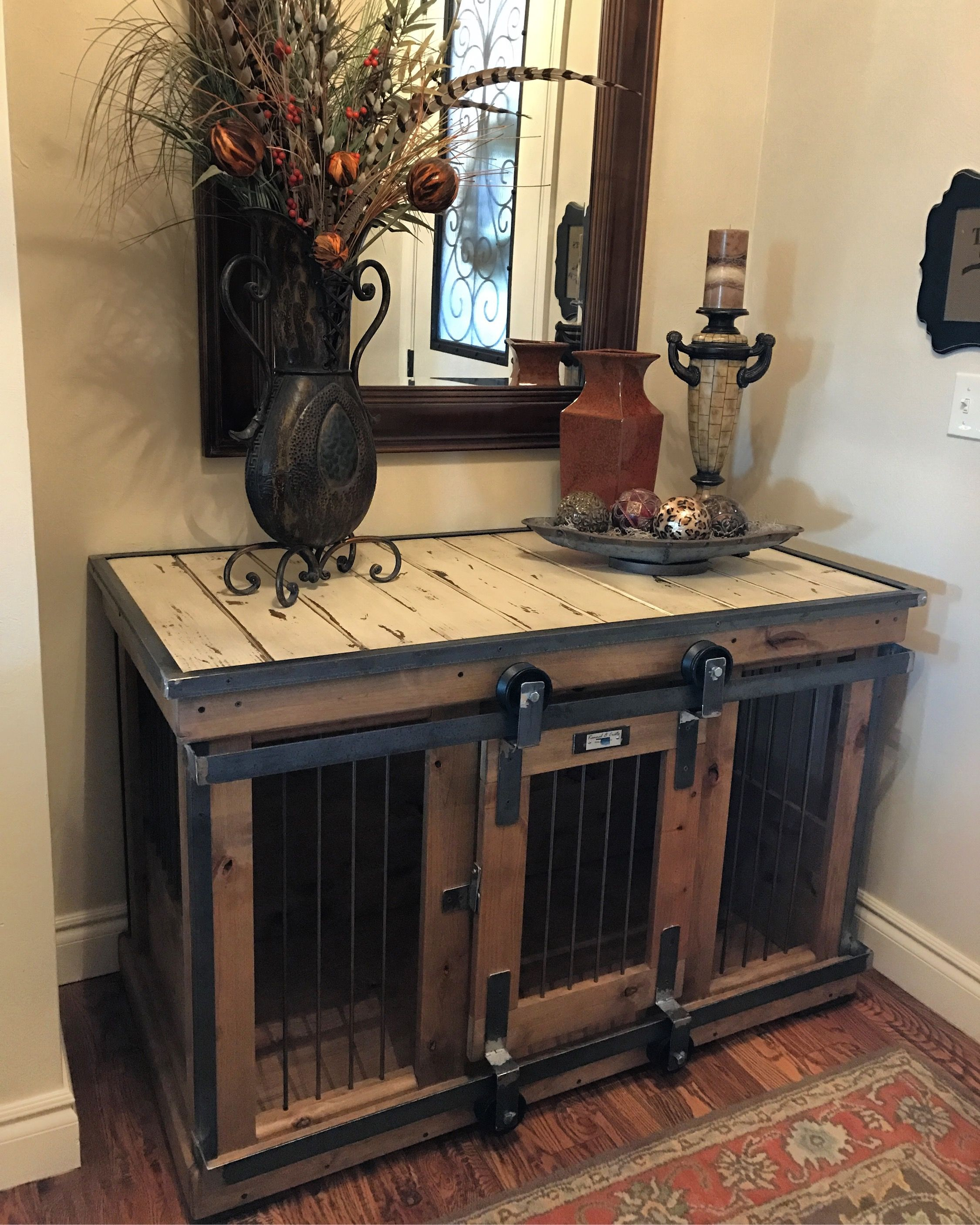 farmhouse style single dog kennel and crate barn door end table with rollin that can remain wide opened for those don like close their pets rose gold lamp bent glass coffee narrow