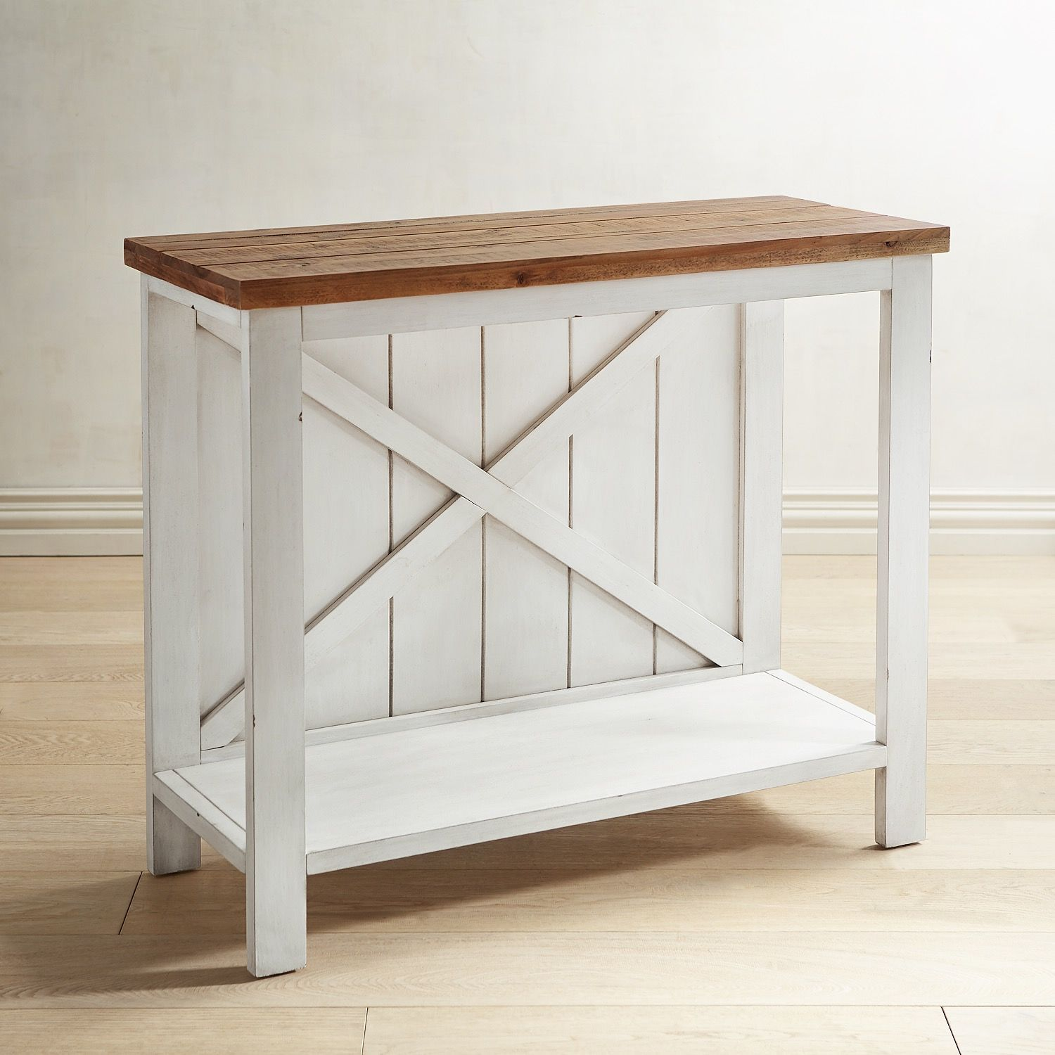 farmhouse white small console table new home accent pier imports bistro and chairs pottery barn entrance thin cabinet dark blue coffee wall mounted trestle dining west elm gold