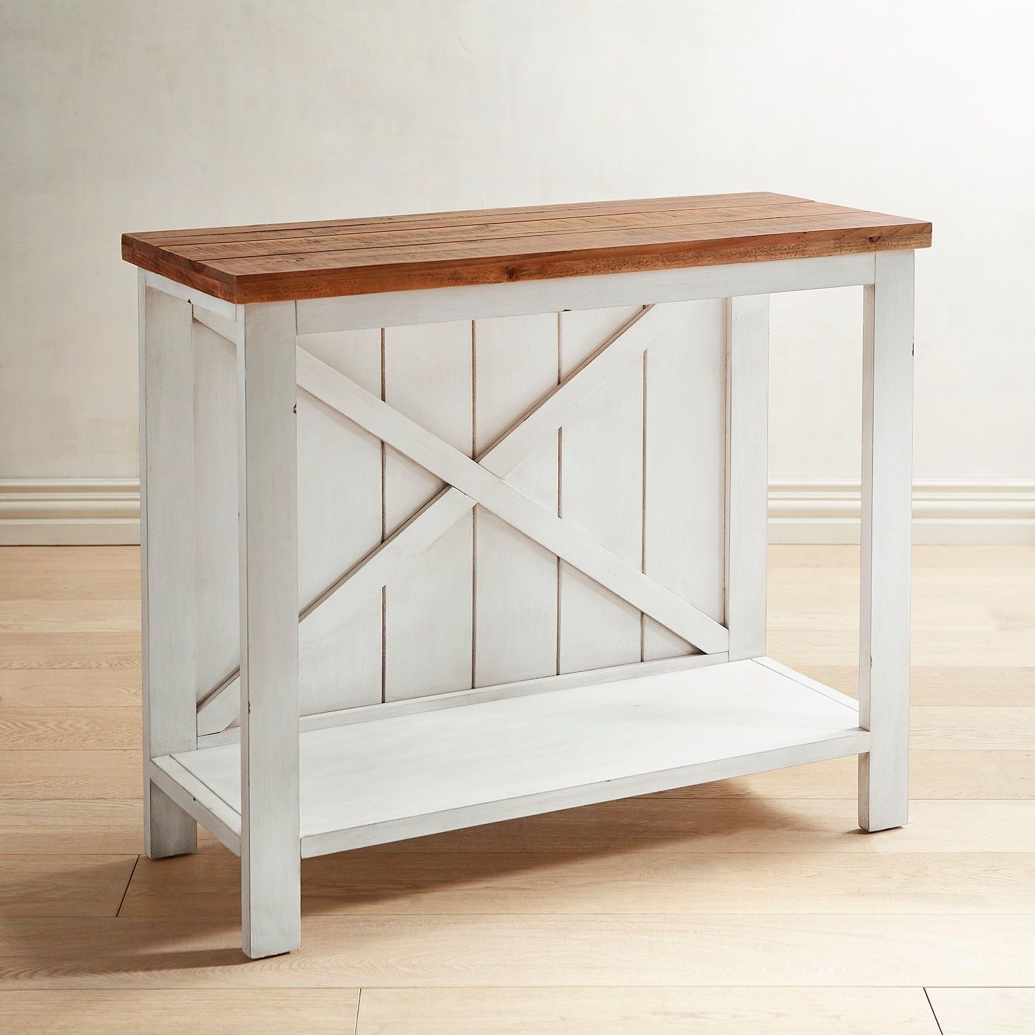 farmhouse white small console table pier imports one anywhere accent wrought iron patio dining garden storage units verizon ellipsis drop side ikea tops currey and company