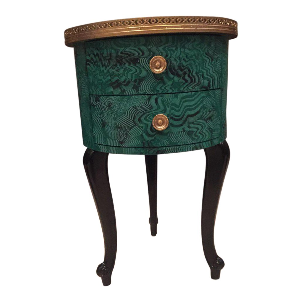 faux malachite drum shape accent cabinet chairish shaped table trunk coffee diy beach kitchen decor mirrored side target yellow desk small telephone ikea portable cotton