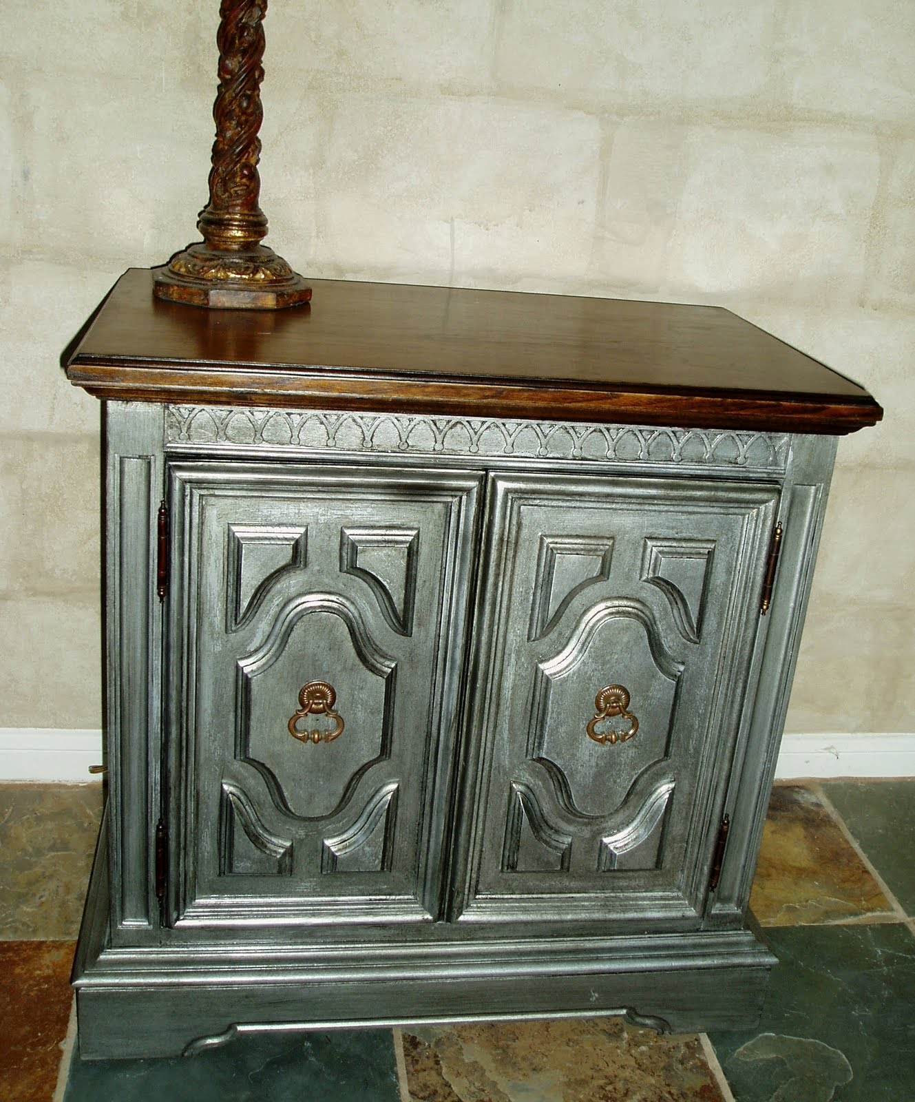 faux painting furniture antiqued pewter side accent table wood round kitchen collapsible end narrow farm foyer lamps chest unusual coffee tables wall wine rack outdoor bistro
