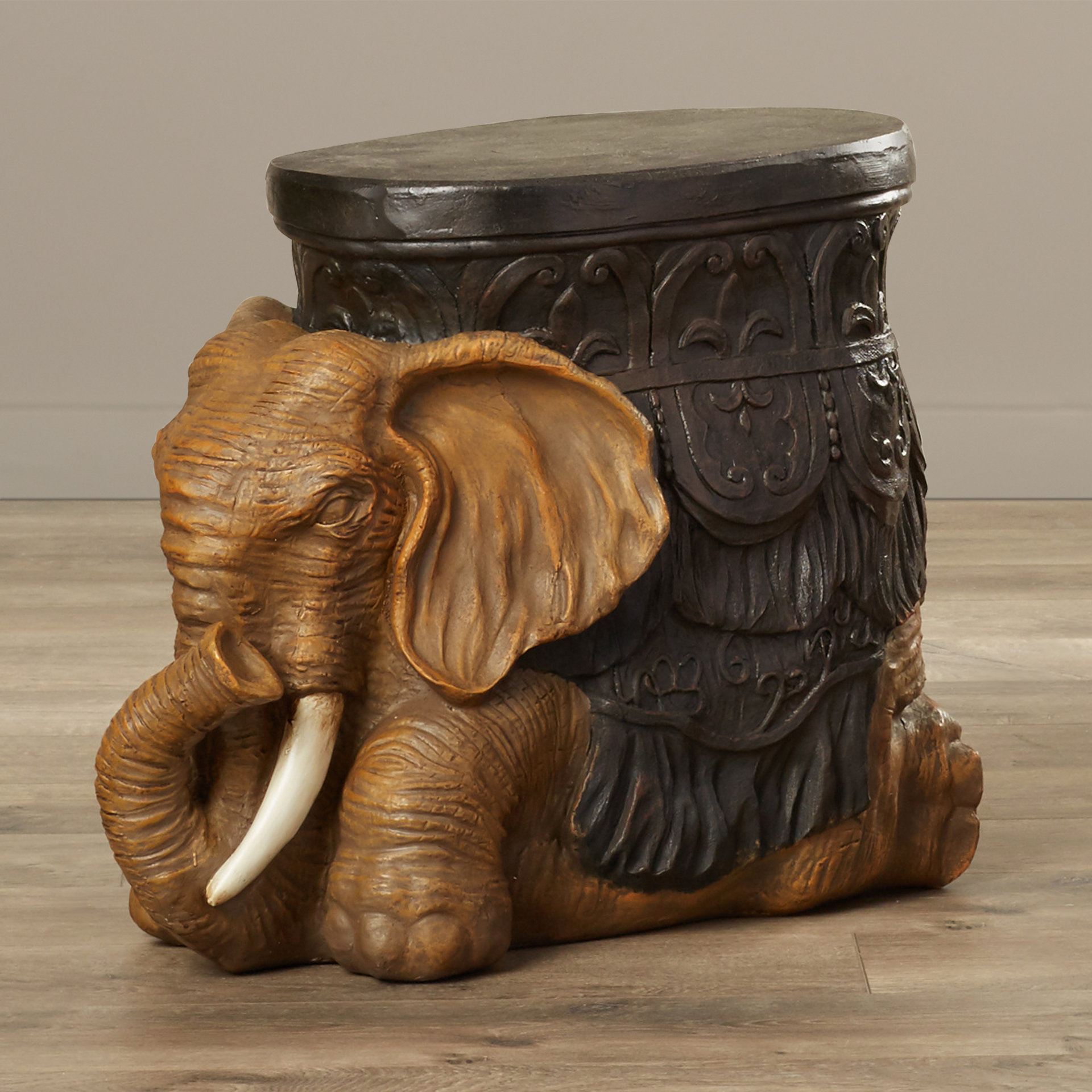 faux stone end table allegheny sculptural elephant accent cordless battery operated lamps hammered copper side huge outdoor umbrella nautical flush mount light drum ashley
