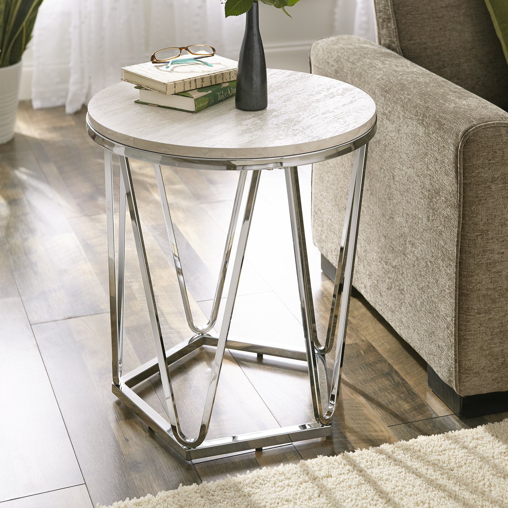 faux stone end table quartz room essentials trestle accent quickview bathroom caddy ikea living furniture colorful side narrow wall black outdoor setting cover flip top box