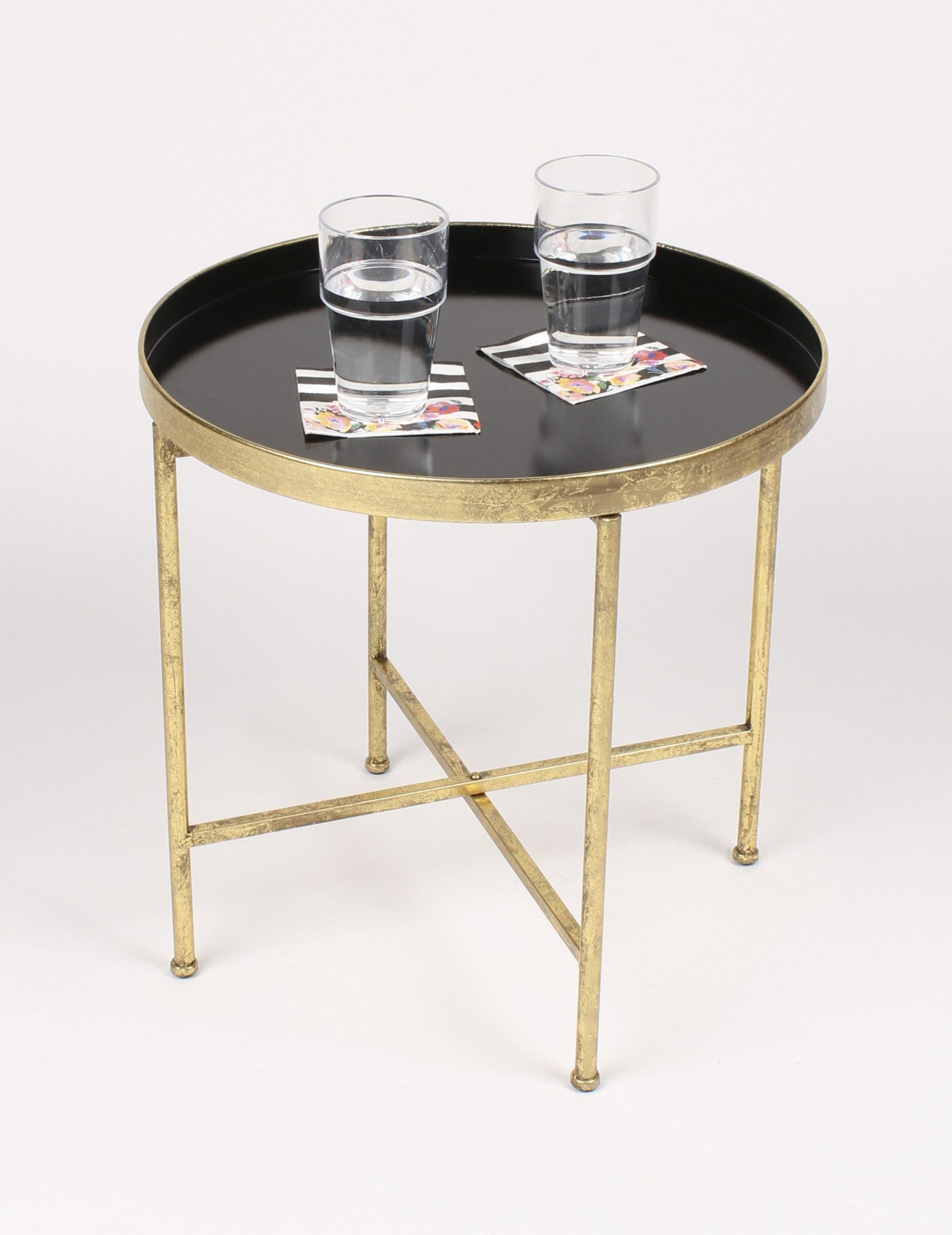 features crafted metallic leaf and painted metal for lasting accent table durability with glossy finish decorative end color tray surface narrow tables living room conversation