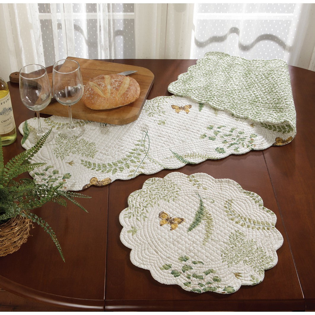 fern garden tabletop accents quilted summer table decor accent placemat iron glass coffee clearance tiffany lamps metal floor reducer ethan allen leather furniture cool side
