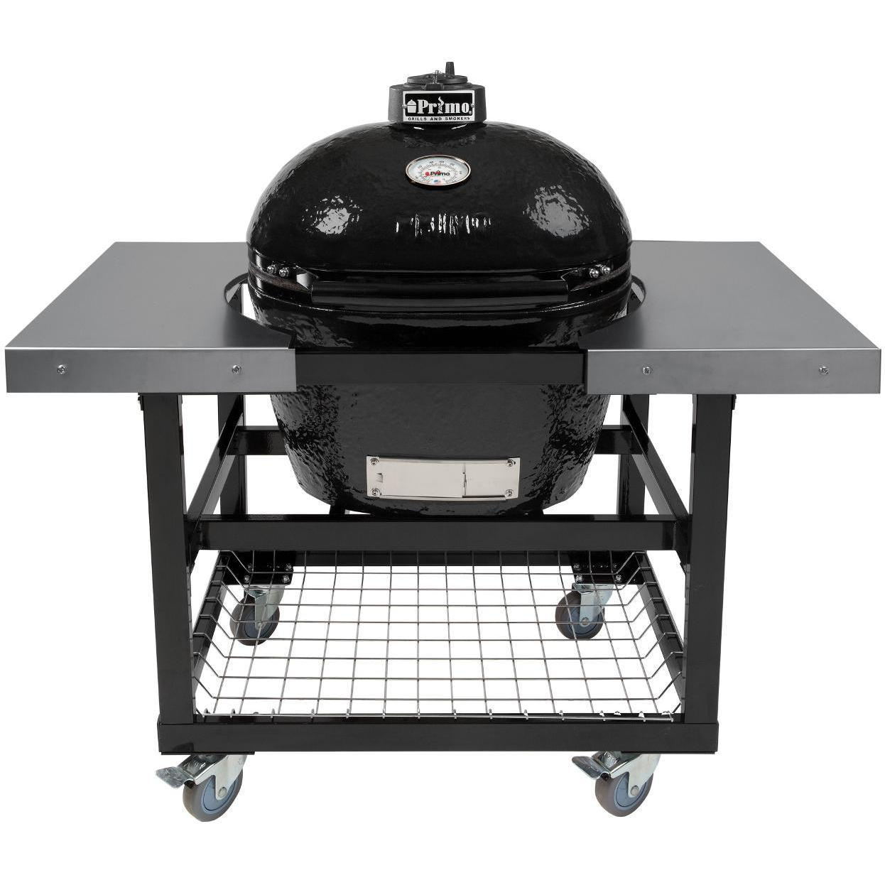 fireplace bbq and appliances fireside woodland hills primo oval large ceramic kamado grill steel cart with stainless side tables outdoor table for live edge end counter pub wood