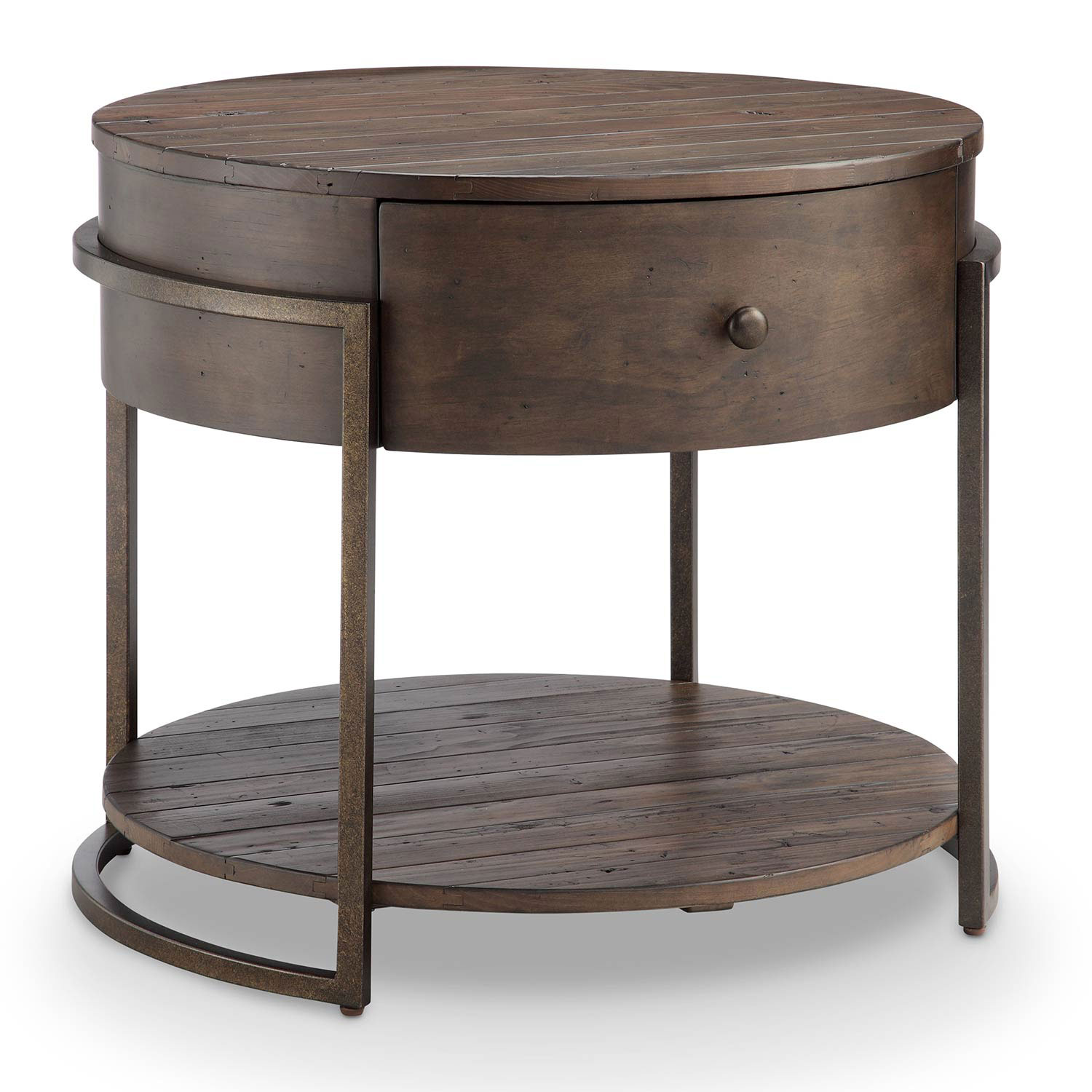 first fulton rustic dark whiskey reclaimed wood round accent tables table hover zoom display coffee ikea carolina furniture marble top pedestal black side lamps and pottery barn