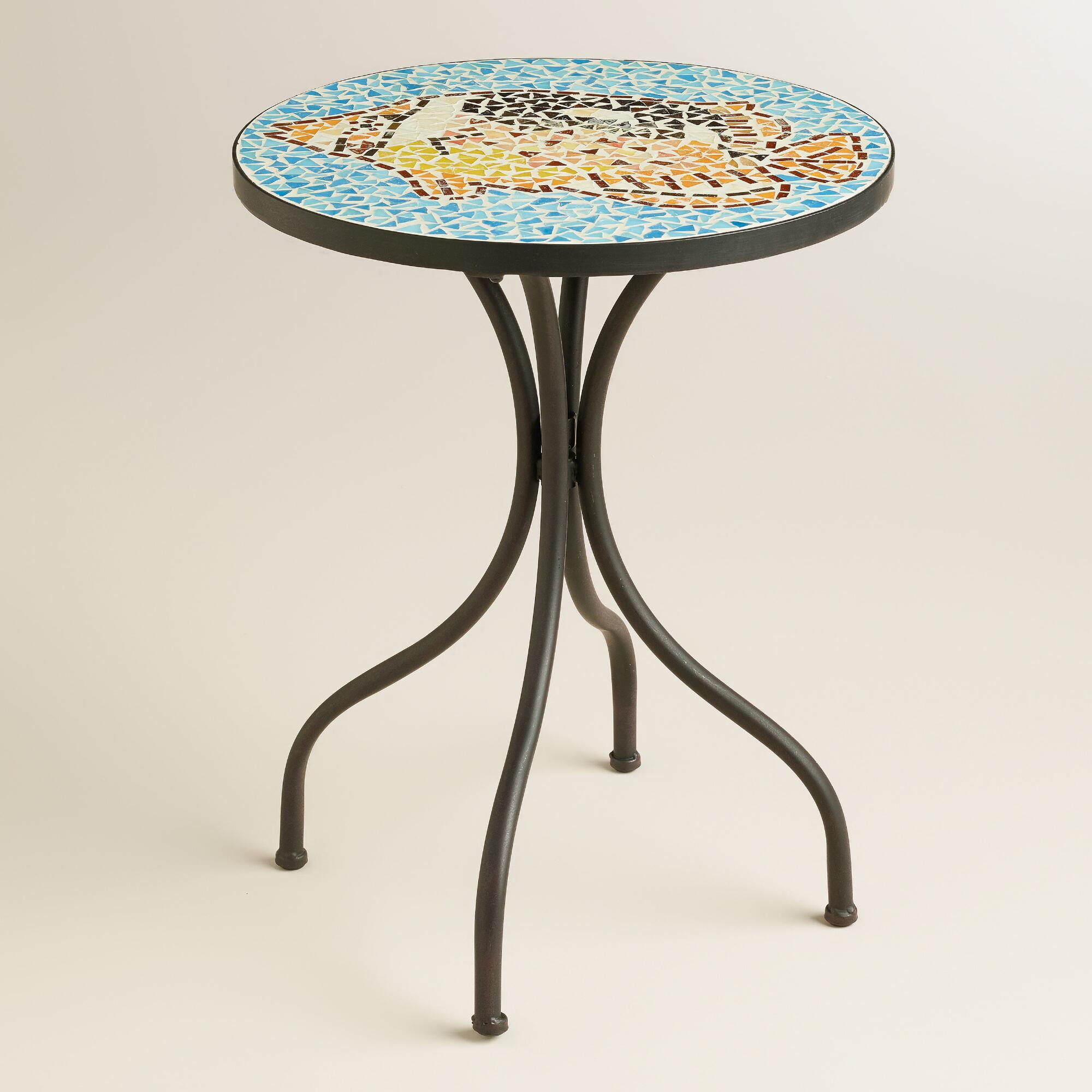 fish mosaic cadiz accent table world market with storage target kohls lamps round wood and metal side dale dining sofa seating drum stool backrest bistro furniture nightstand lamp
