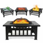 fixkit fire pit table outdoor with bbq grill shelf side multifunctional garden terrace bowl heater ice diameter square fireplace small accent chairs piece nesting tables high 150x150