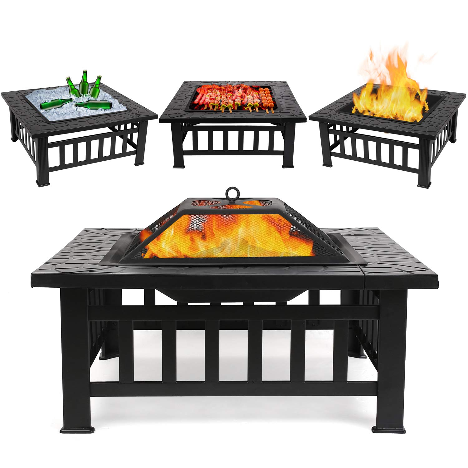 fixkit fire pit table outdoor with bbq grill shelf side multifunctional garden terrace bowl heater ice diameter square fireplace small accent chairs piece nesting tables high