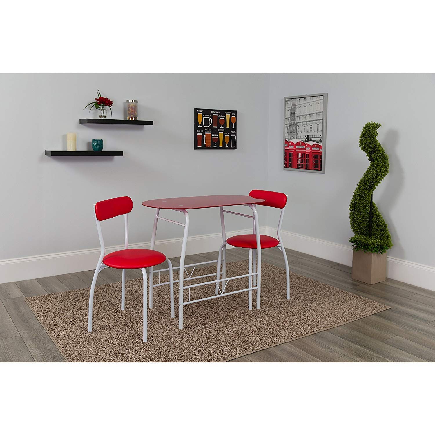 flash furniture sutton piece space saver bistro set accent chair and table with black glass top vinyl padded chairs kitchen dining ashley chaise farmhouse nightstand wine rack red