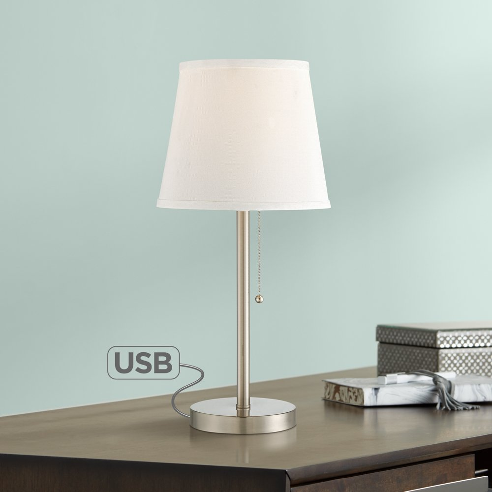 flesner brushed nickel accent table lamp with usb port steel trend furniture gold outside umbrella pier one promo code file cabinet dimensions inch high end tables pottery barn
