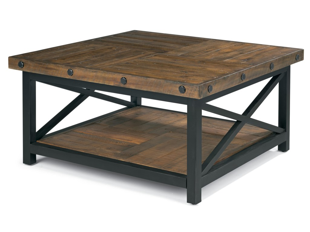 flexsteel carpenter square cocktail table with metal base products color threshold accent wood top carpentersquare outdoor patio furniture toronto ikea long pottery barn office
