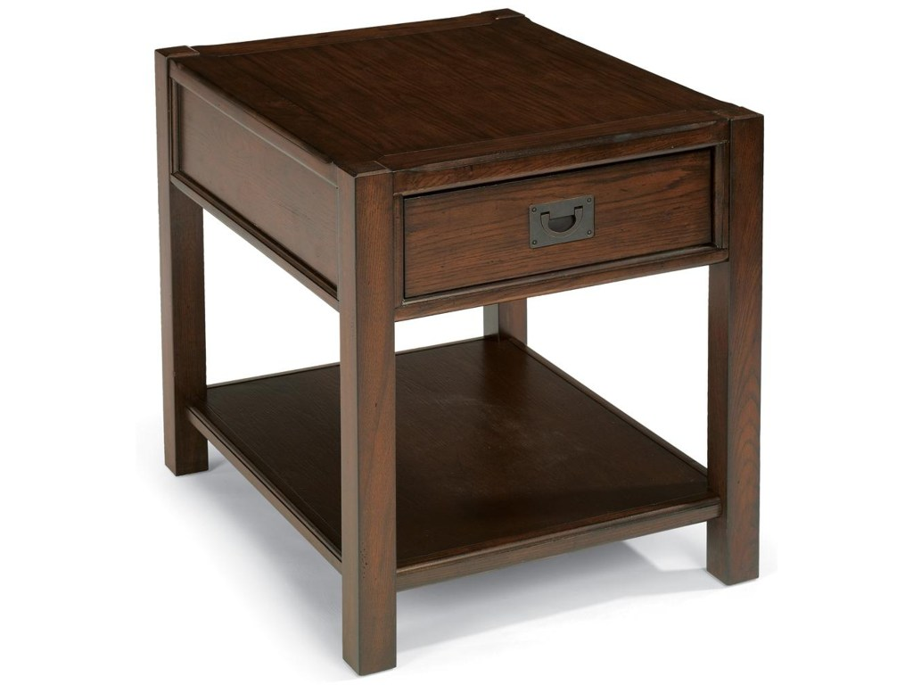 flexsteel sonoma end table with one drawer dunk bright products color chestnut accent furniture tables keter beer cooler pottery barn glass side coloring tablecloth round bronze