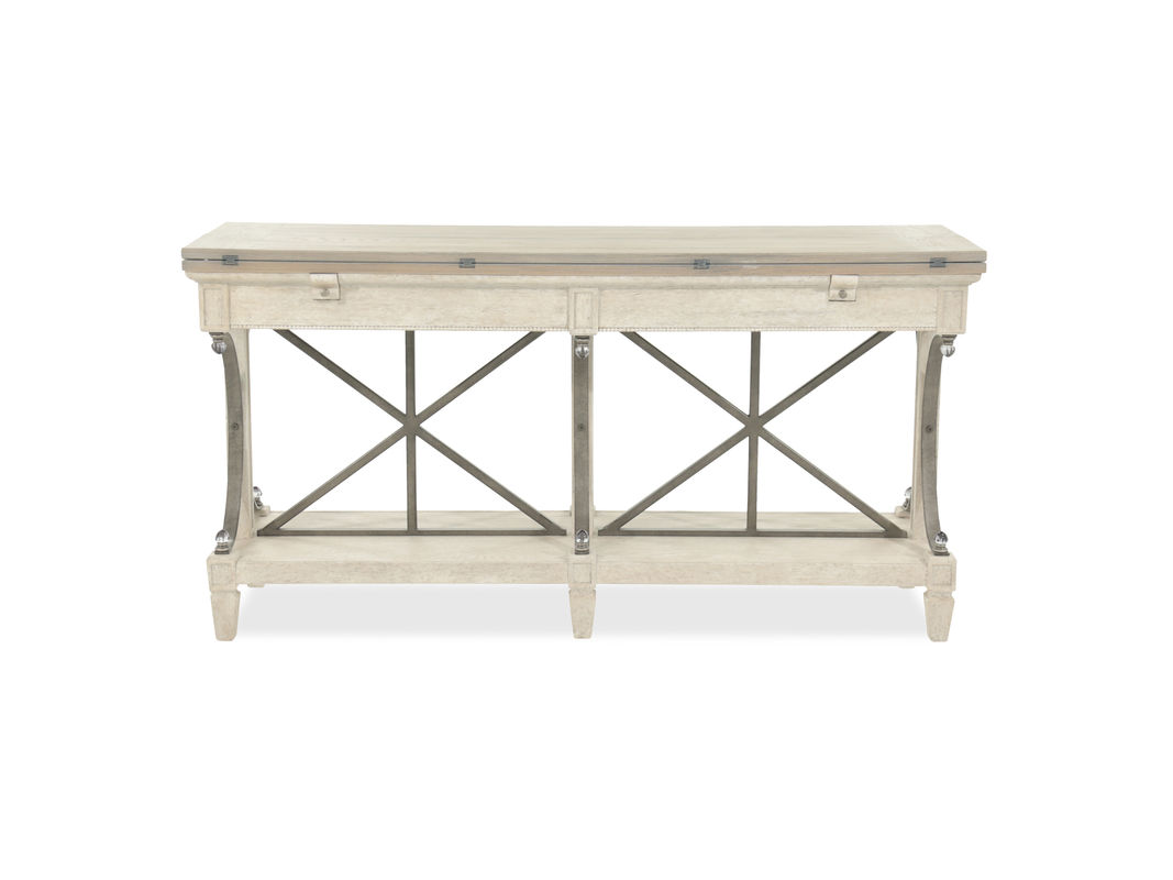 flip top contemporary sofa table cream mathis brothers furniture artf room essentials accent this has stationary bottom shelf and multiple drawers take small decor printed media