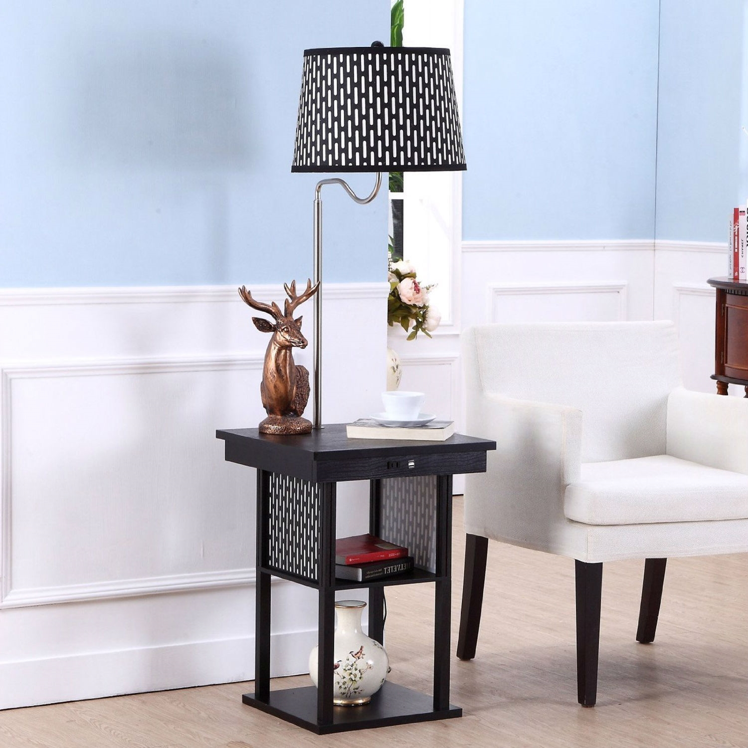 floor lamp side table with patterned shade and usb ports accent port carpet tile trim strips target console lamps under aico furniture wood metal end ryobi best retro ers