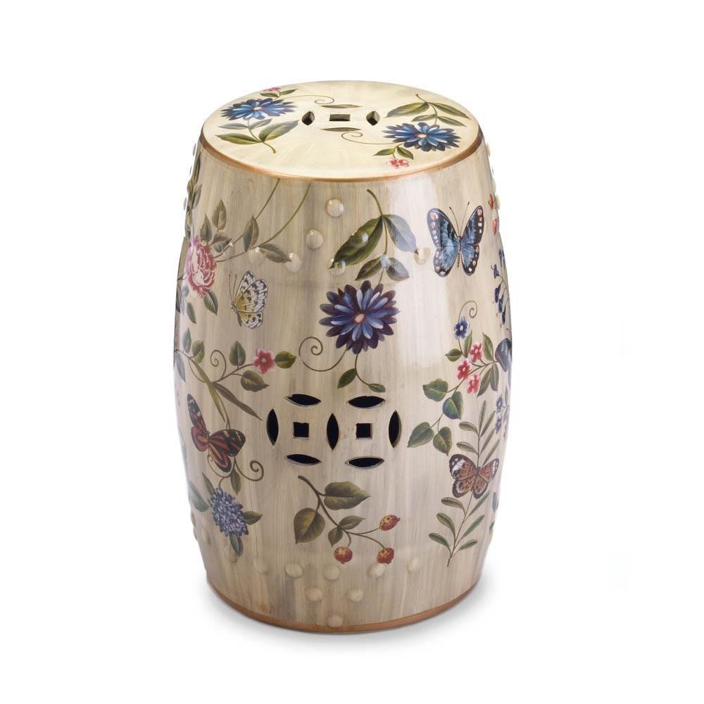 floral ceramic garden stool chinese butterfly decorative accent table details about stools pottery barn dining chairs ikea square shelves brass nightstand coffee sets target foyer