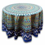 floral mandala cotton round tablecloth for square tables blue inches green beach sheet small accent table cloth orange pink target decorative pillows college room decor ikea bath 150x150