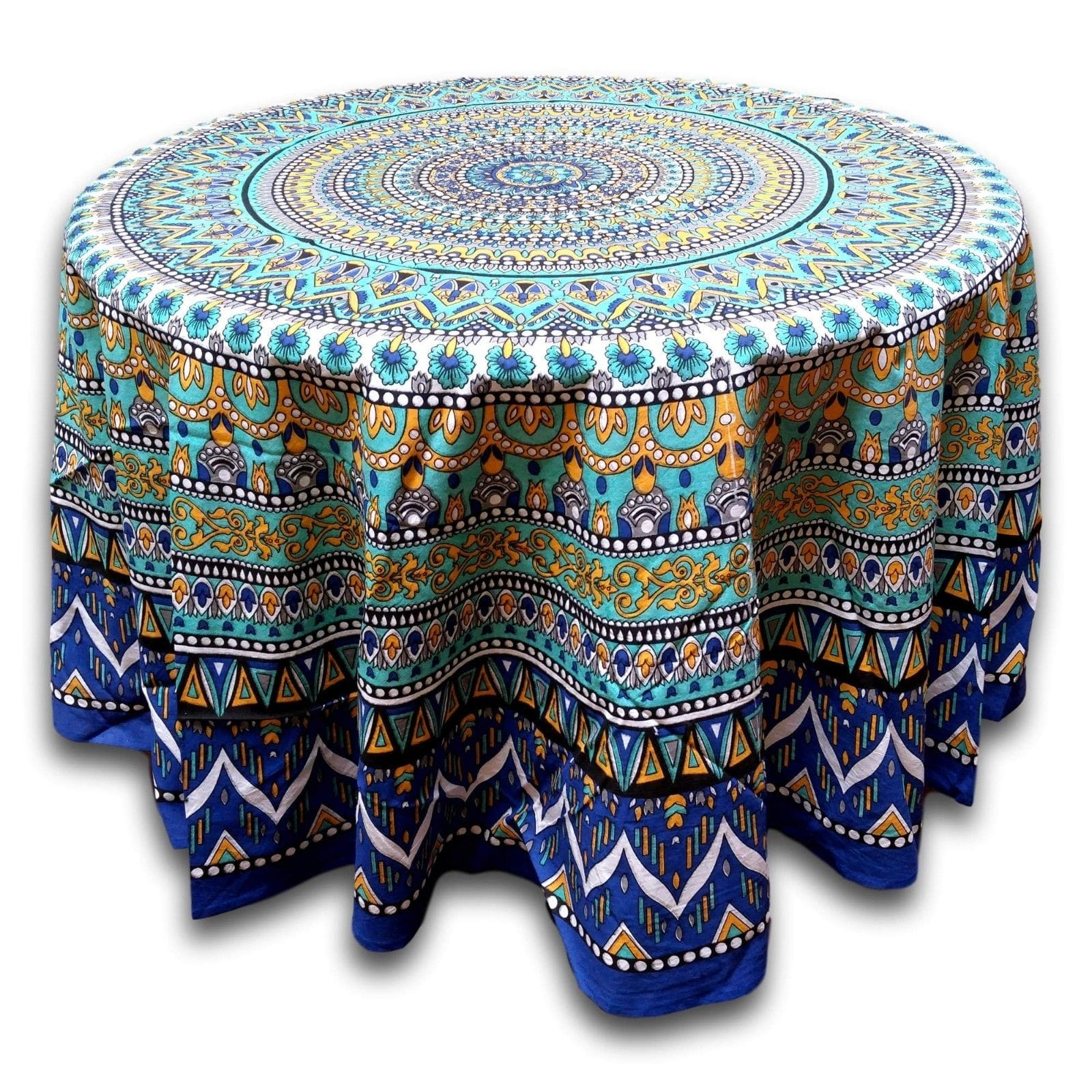 floral mandala cotton round tablecloth for square tables blue inches green beach sheet small accent table cloth orange pink target decorative pillows college room decor ikea bath