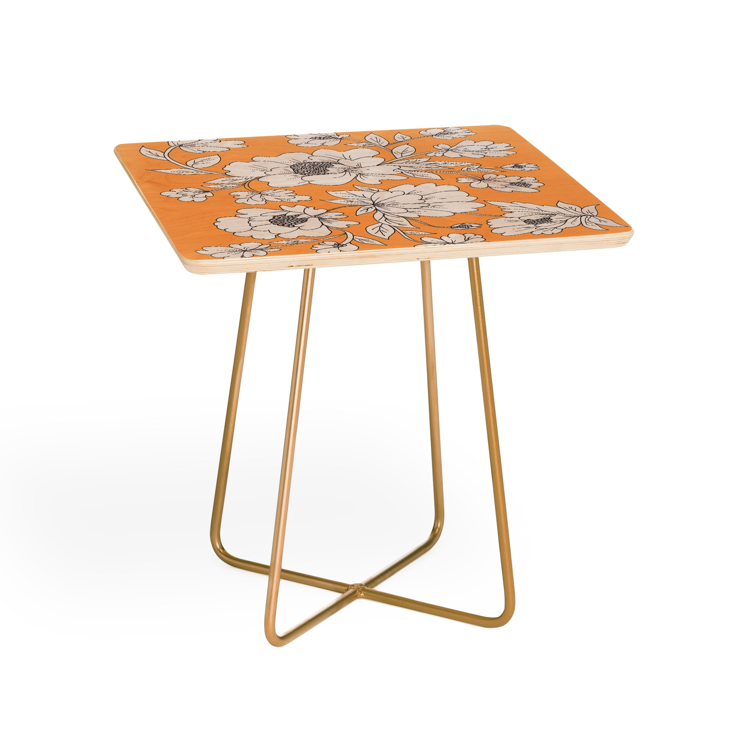 floral orange side table rosie brown square white background aston gold outdoor lamp design round glass nest tables crib furniture sets black kitchen set home goods corner bench
